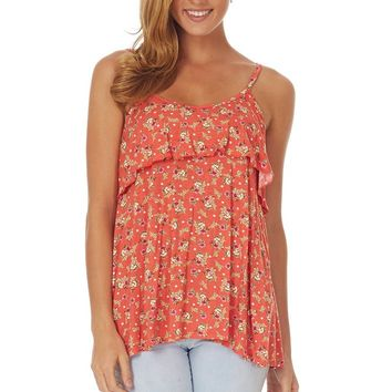 Coral Floral Overlay Tank Top