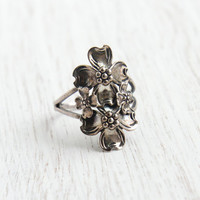 Vintage Sterling Silver Dogwood Ring - Beau Adjustable Floral Mid Century Jewelry / Double Flower