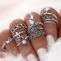 10pcs/Set Ethnic Ring Set Unique Carved Antique Silver