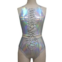 Holographic Crop Top Bottom Sets Summer Fetival Rave Clothes Wear Outfits Gear Hologram Tank Top High Waist Shorts