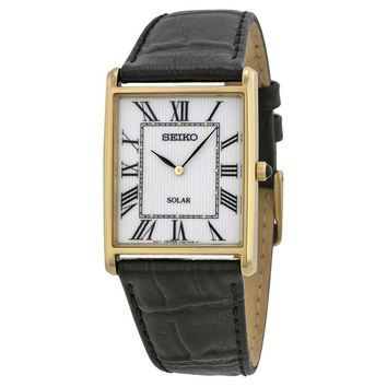 Seiko Solar White Dial Black Leather Mens Watch SUP880