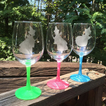 3 Good Fairies Flora, Fauna, and Merryweather set inspired by Disney Sleeping Beauty glittered wine glasses