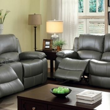 2 pc sarles collection transitional style gray faux leather standard motion sofa and love seat with recliner ends