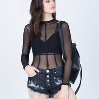 Caged Mesh Bodysuit