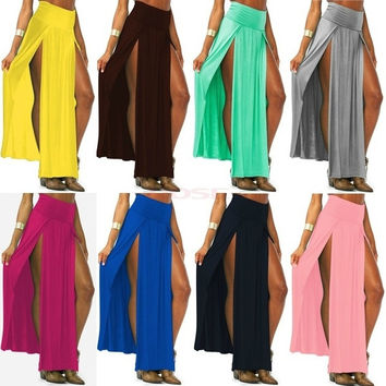 Trends High Waisted Double Slits Sexy Women Maxi Skirt 18579 One Size = 1646020100