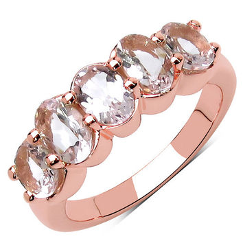 14K Rose Gold Plated 1.75 Carat Genuine Morganite & White Topaz .925 Sterling Silver Ring