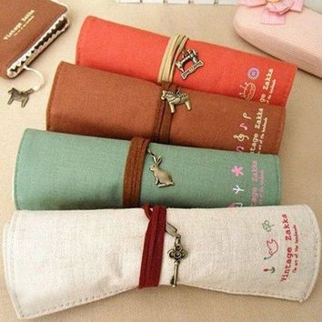 KINGSO Canvas Wrap Roll Up Stationery Pen Brushes Makeup Pencil Case Pouch Bag Holder,Coffee