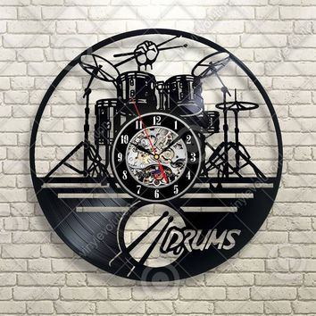 Guitar Drums Set Wall Clock Music Instrument Notes Vinyl Record Gift Home Decor Black 12inch