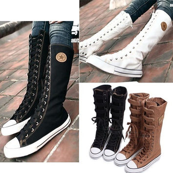 Women's Canvas Punk Rock Gothic Sneakers = 1946573572