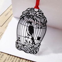Black Bird Cage Metal Bookmark Mini Greeting card + Envelope | Korea Stationery | Book Markers Art Filigree | Accessories Stationery