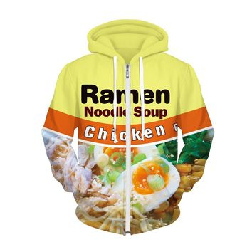 3D Ramen Noodle Soup Chicken Zipper Hooded Hoodies Sweatshirts S/M L/XL Polyester/Spandex/Space Cotton High Quality Tracksuits