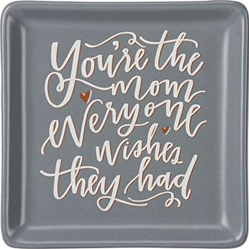 """Hand-Lettered Stoneware Trinket Tray, 4.13"""" x 4.13"""", You're the Mom"""