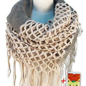 Women Winter Warm Knit Loop Scarf Tassels Soft Shawl Two styles Infinity and straight = 1920275012