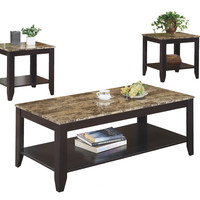 Cappuccino / Marble-Look Top 3Pcs Table Set