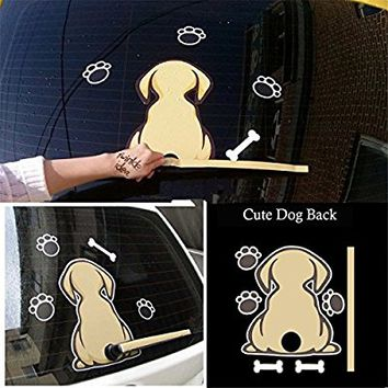 Fochutech Car Auto Body Sticker Dog Wags Tail Rear Windshield Window Wiper Self-Adhesive Side Truck Vinyl Graphics Decals