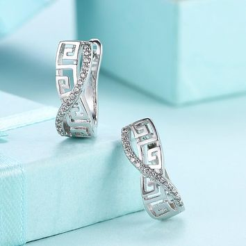 Laser Cut Swarovski Crystal Micro-Pav'e Lined Swirl Huggie Hoop Earrings Set in 18K White Gold