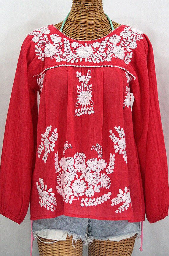 long sleeve mexican peasant blouse top from sirenology on etsy