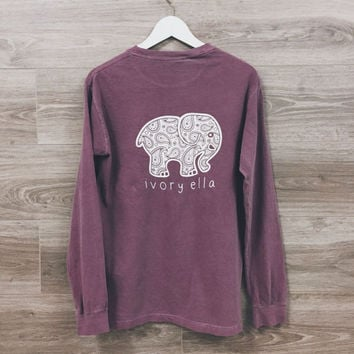 Stylish Elephant Prints Long Sleeve Top T-Shirt