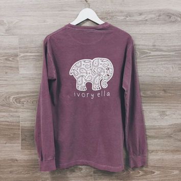 Womens Cute Elephant Prints Long Sleeve Top T-Shirt