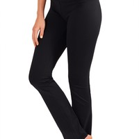 Straight Leg Yoga Pants With Fabric - Long - Black