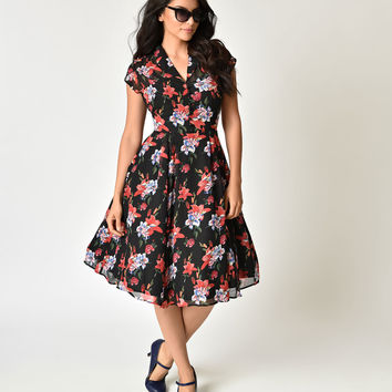 Hell Bunny Plus Size 1940s Style Black Floral Crepe Valentina Swing Dress