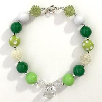 Lime/ Green/ White St. Patrick's Day Chunky Necklace
