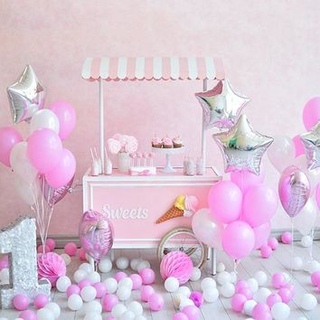 Pink Balloons Sweets Cart Platinum Cloth Backdrop - 10x8 - LCPCPINKBALLOONS - LAST CALL