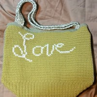 Love Crochet Tote Bag, Love Cross stitched Tote, Large Crochet Bag, Valentine's Day