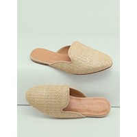 Woven Raffia Almond Toe Open Back Flats