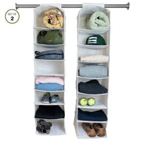 Evelots Fabric Hanging Storage Closet Organizer for Clothing, Shoes, White- S/2