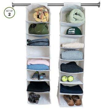 Evelots 16 Shelf Hanging Storage Closet Organizers, White - Set of 2