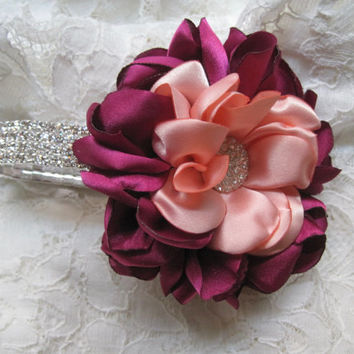 Magenta and Peach Satin Flower Bracelet Corsage or Bridal Hair Clip with Rhinestone Accent Choose Style Bridesmaid Mother of the Bride Prom