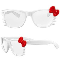 1 Pair Hello Kitty eyeglass frame with bow accent - White/Red