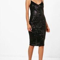 Boutique Maya Sequin Open Back Midi Dress | Boohoo