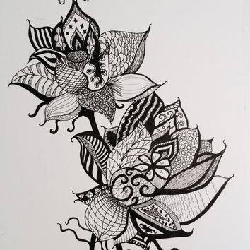 "Lotus Flowers Pen and Ink Print 8"" x 10"", Home Decor Artwork - Yoga Inspired"