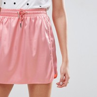 ASOS Mini Skirt in Satin with Drawstring Waist at asos.com