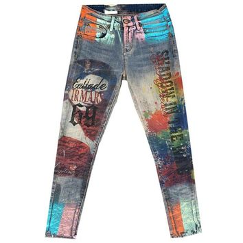 Casual Denim Skinny Pant Femme Pencil Jeans Trousers Bronzing Painted Pattern Jeans Denim Trousers