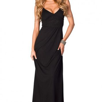 Macie Black Spaghetti Strap Jersey Maxi Dress with Crochet Details