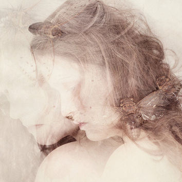 The Nymph Emerging - FREE SHIPPING 8x12 Print Cicada Bug Double Exposure Cream White Pink Brown Girl Face Profile Surreal Portrait Photo Art