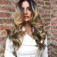 "Heather 20"" Human Hair Blend Multi Parting Lace Front Wig"