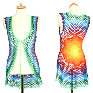 Rainbow Crochet Mandala Vest - Floral Sweater - Eco Friendly - Recycled Cotton - Hippie Clothing - RESERVED for Suzy N. S.