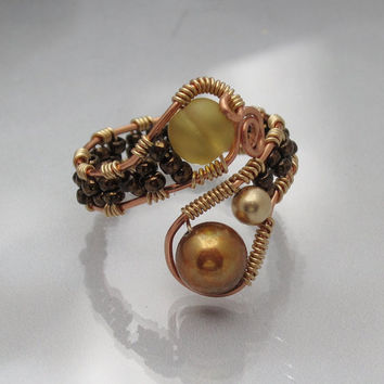 Pearl and Sea Glass Amber and Golden Copper Wire Wrap Ring adjustable