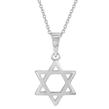 925 Sterling Silver Small Star of David Medal Jewish Children Necklace 19""