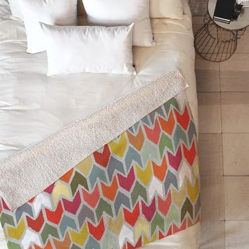 Sharon Turner Beach House Ikat Chevron Fleece Throw Blanket