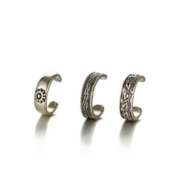 Bohemian Zinc Alloy Triple Style Toe Ring Set