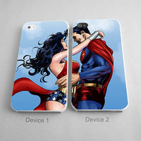 Superman And Wonderwoman Couples Phone Case iPhone 4/4S, 5/5S, 5C Series - Hard Plastic, Rubber Case