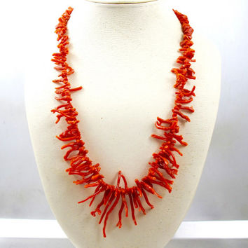 Red Branch Coral Necklace, 1940s Mediterranean Italian Red Coral, Art Deco Natural Branch Coral Jewelry