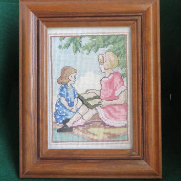 Mother Daughter Cross Stitch, Framed Vintage Cross Stitch Art,  Desktop Framed Needlework