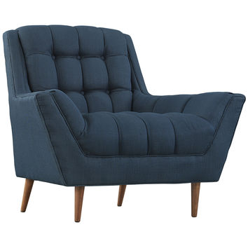 Modway Response Fabric Armchair in Tufted Azure W/ Walnut Finished Legs