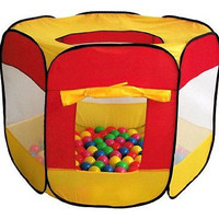 100-Pit-Ball Play Tent Popup Hexagon Mesh Kids House Twist Pool Home Office New